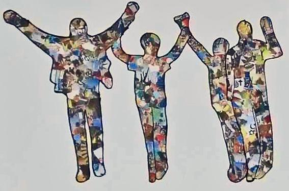 """Die Collage """"Menschen auf dem Weg in die Freiheit"""" Platz 1 in der Kategorie """"Realschule"""""""