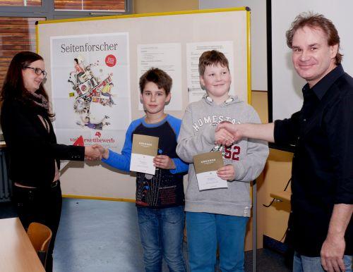 Malte Celauro und Alexander Sonntag gewinnen Vorlesewettbewerb der Boeselager-Realschule