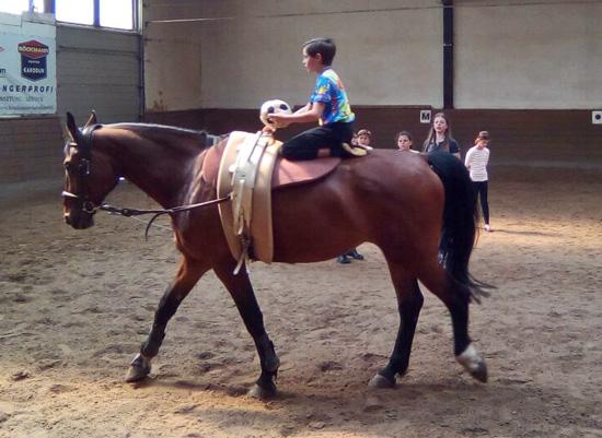 Pascal (5d) bei einer Gleichgewichtsübung zur Übung der Koordination mit Softball auf dem Pferd